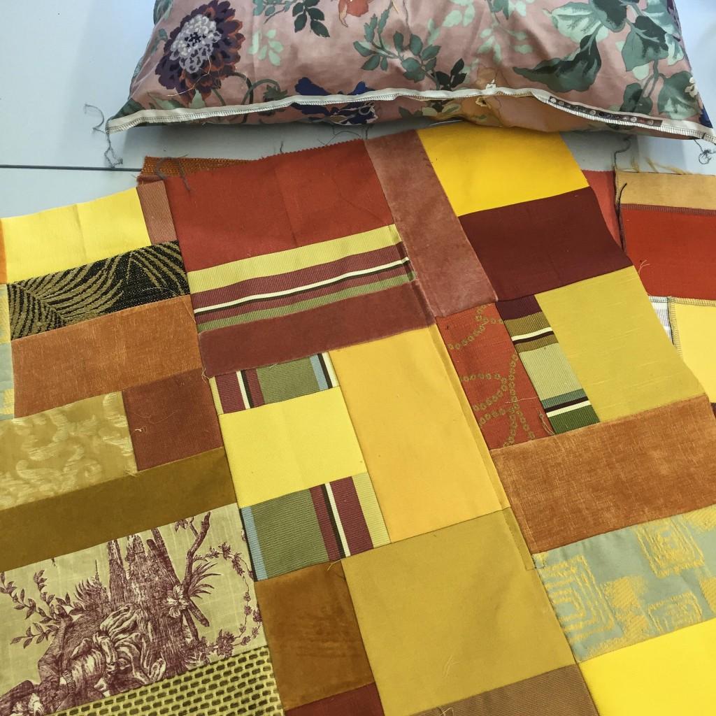 scraps + overlocker = cushions