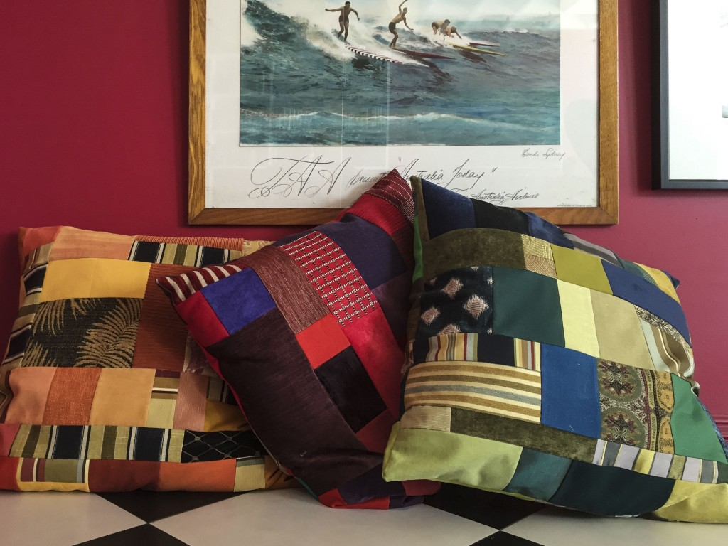 new cushions from upholstery scraps