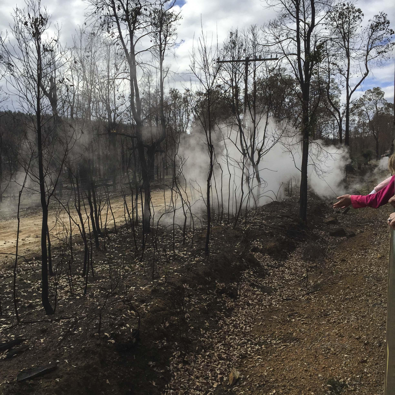 bushfire view from HV steam train