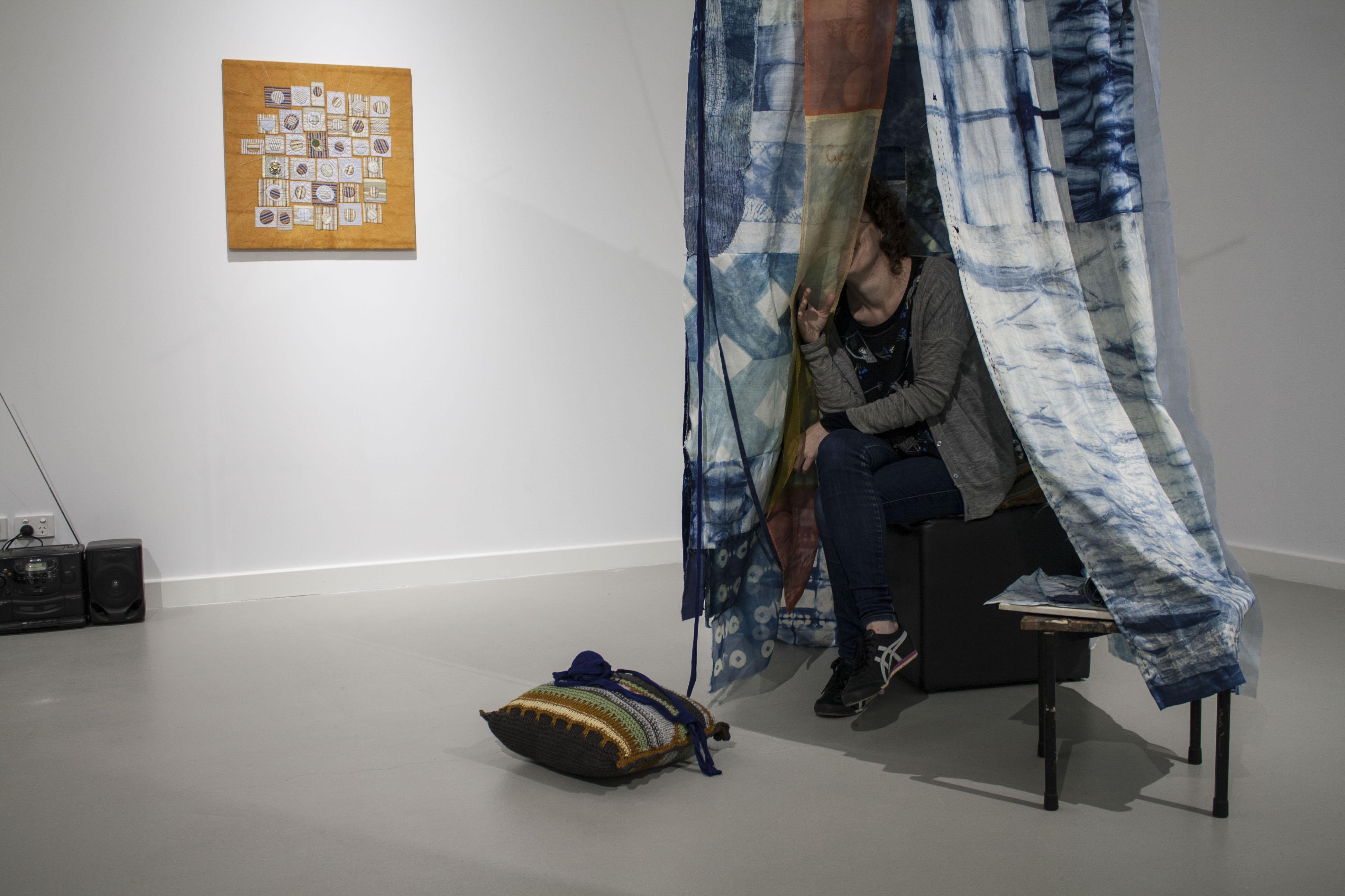 twentyONE+ artworks during set-up by Janie Matthews, Trudi Pollard