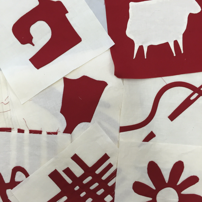 redwork blocks, white work blocks