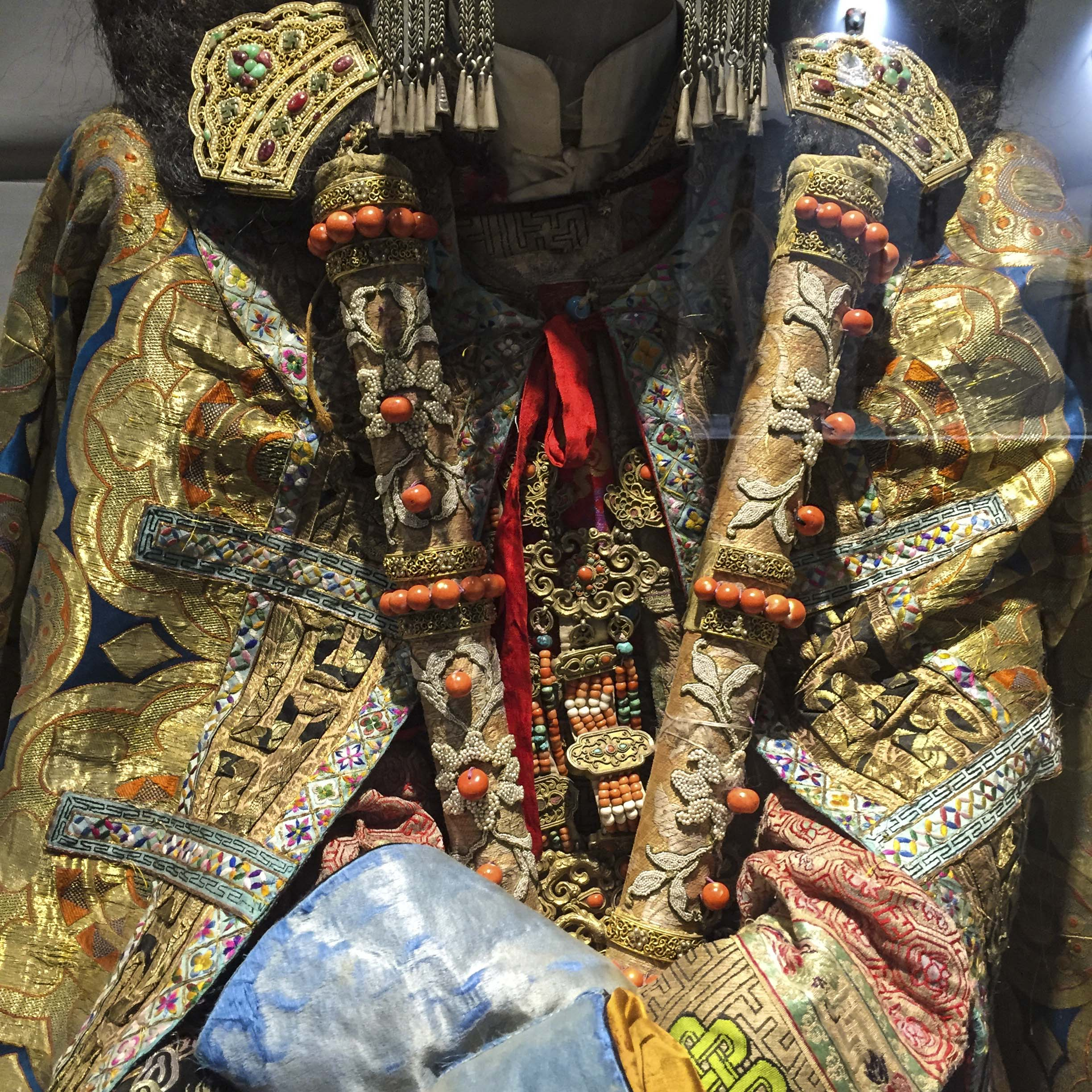 a detail of mongolian costume